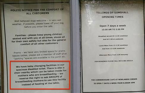 Tillings breastfeeding notice