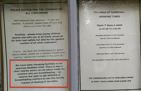 Tillings breastfeeding notice